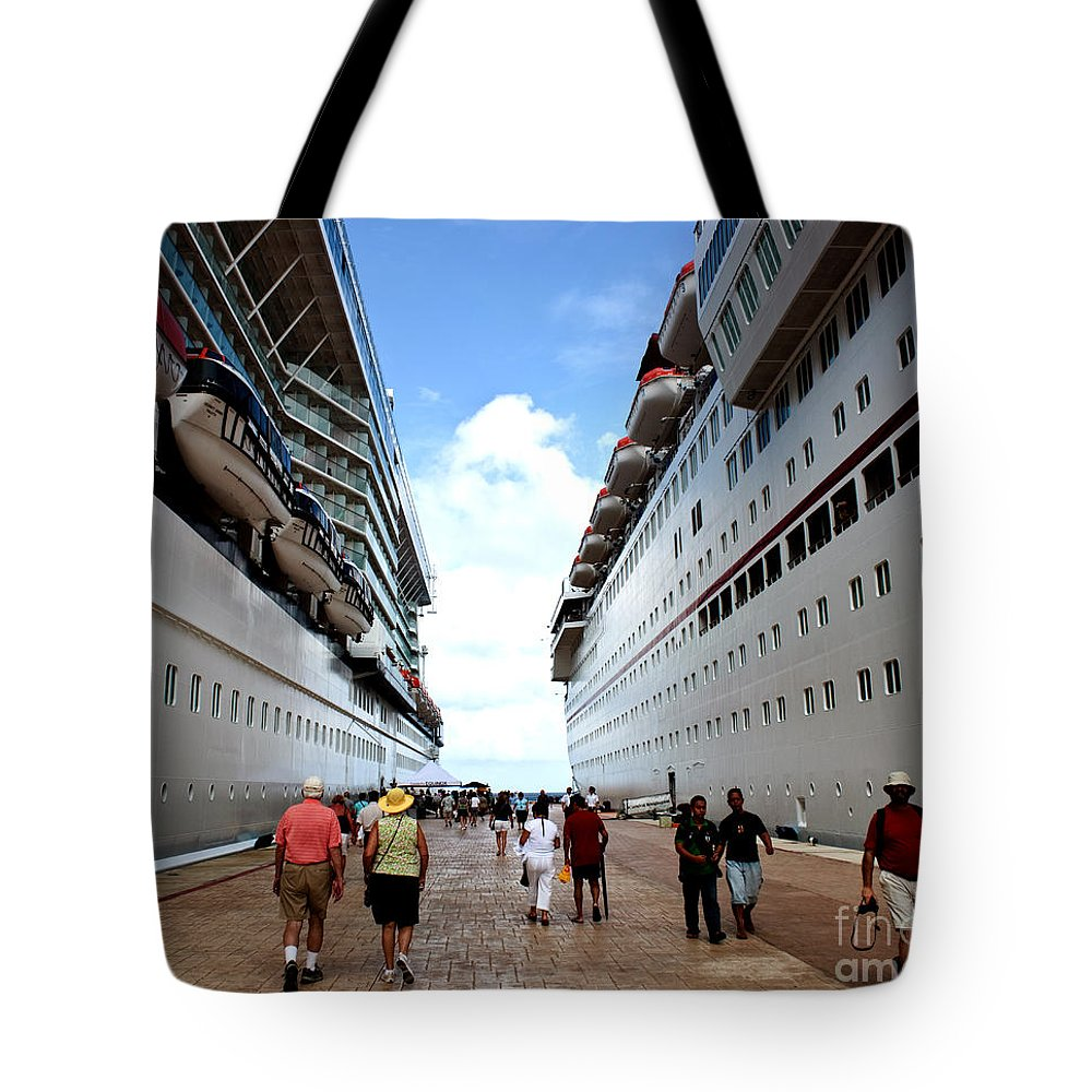 Carnival Tote Bag featuring the photograph Beween Two Ships by Thomas Marchessault