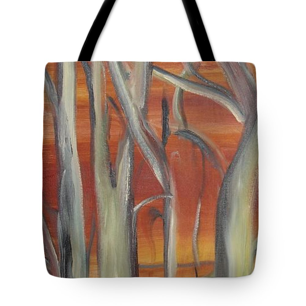 Trees Forest Original Painting Abstract Tote Bag featuring the painting Beyond by Leila Atkinson
