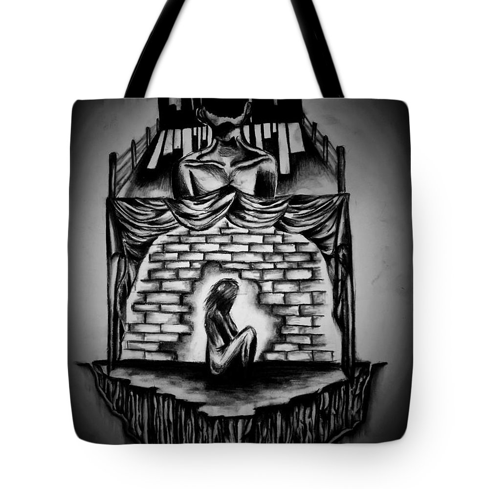 Charcoal Sketch On Paper Tote Bag featuring the drawing Beyond My Minds Reach by Marco Sciocatti