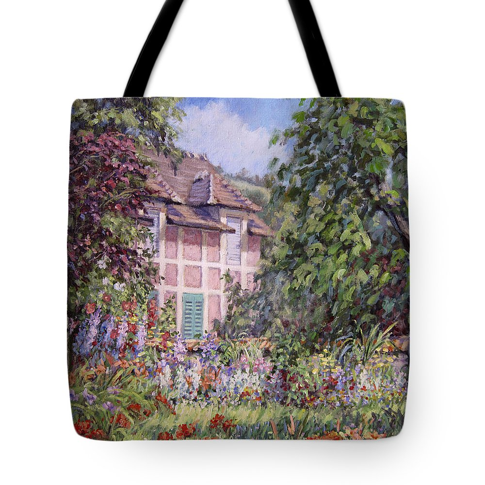 Monets Garden Tote Bag featuring the painting Beyond The Garden by L Diane Johnson