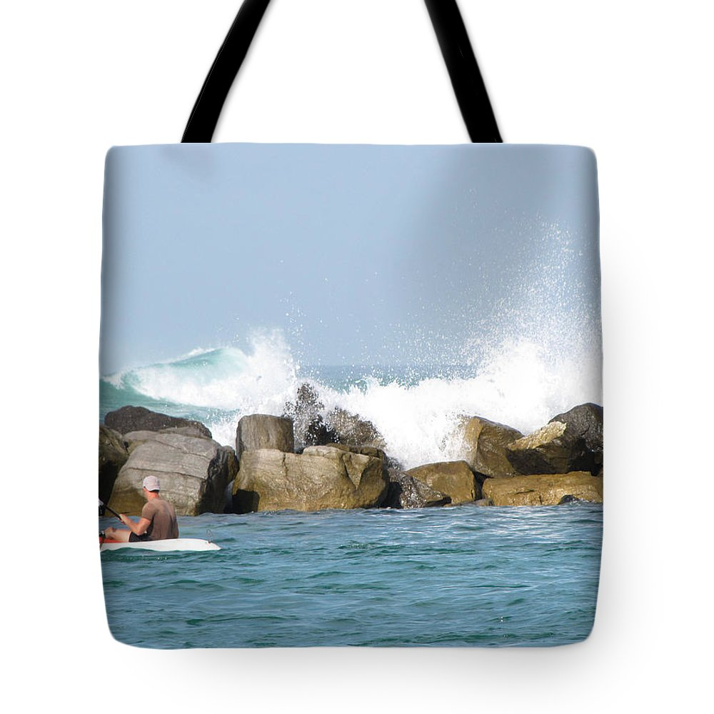 Waves Tote Bag featuring the photograph Beyond The Jetty by Kent Dunning
