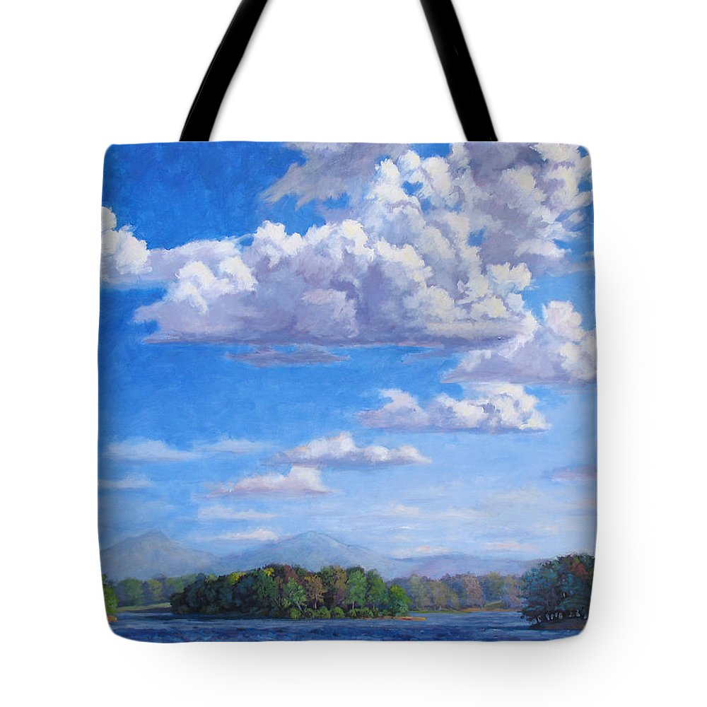 Lake Tote Bag featuring the painting Beyond The Lake by L Diane Johnson