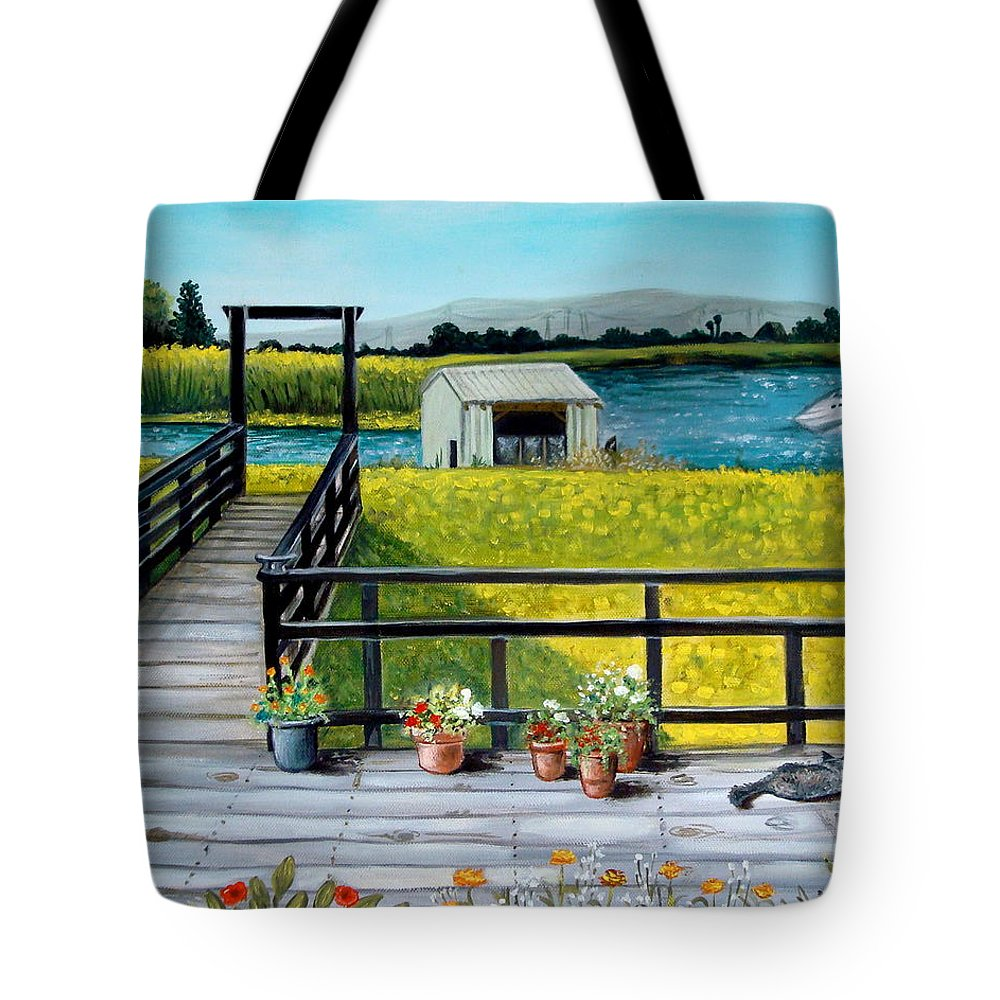 Landscape Tote Bag featuring the painting Beyond The Levee by Elizabeth Robinette Tyndall