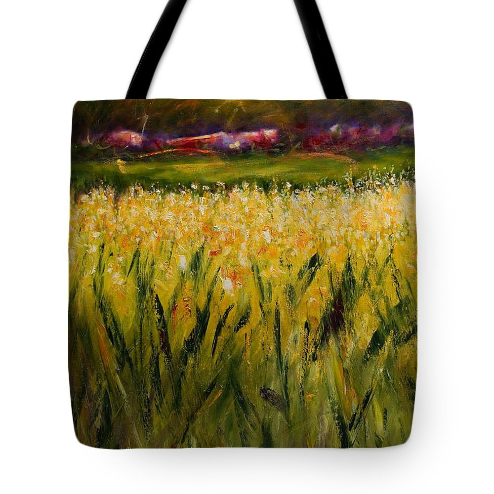 Landscape Tote Bag featuring the painting Beyond The Valley by Shannon Grissom