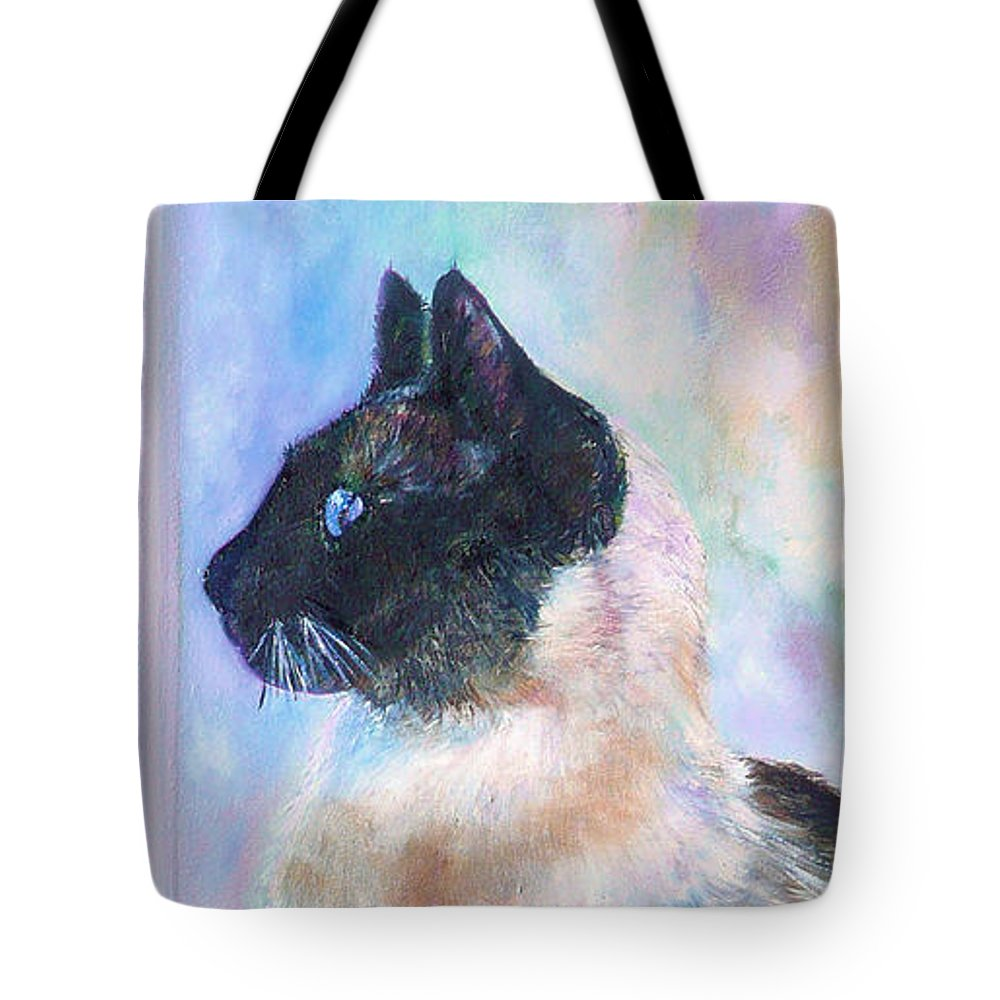Cat Tote Bag featuring the painting Beyond The Window Pane by Laura Leigh McCall