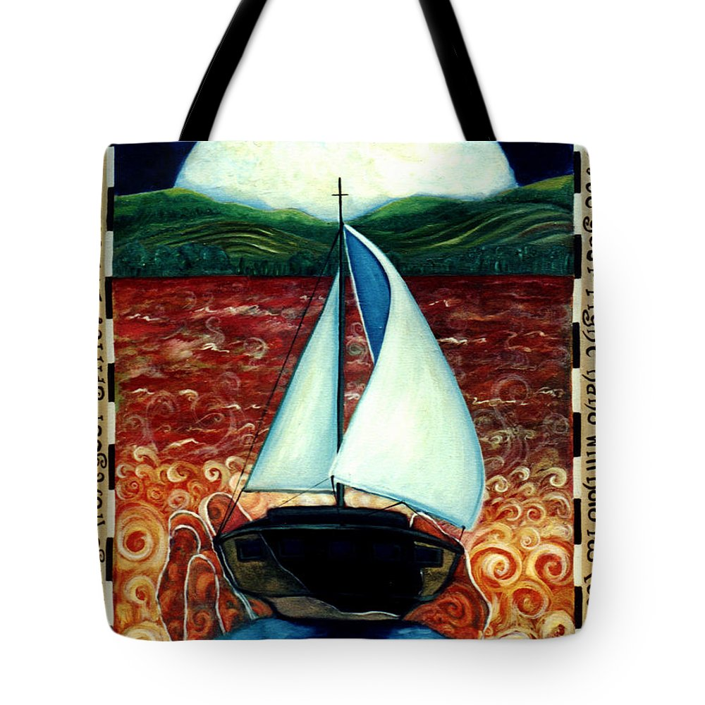 Sailboat Tote Bag featuring the painting Beyond These Shores by Teresa Carter