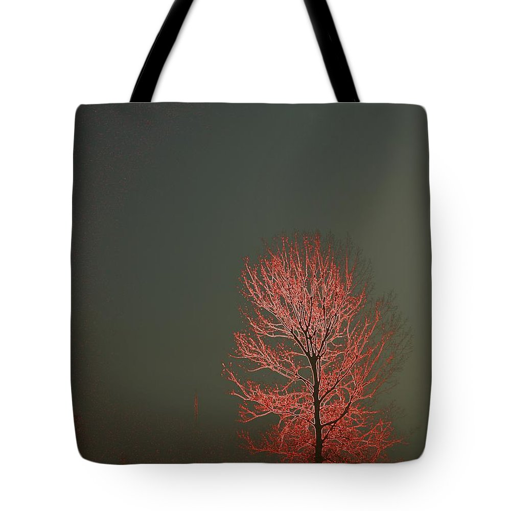 Electrification Tote Bag featuring the photograph Beyond This Foggy Day by J R Seymour