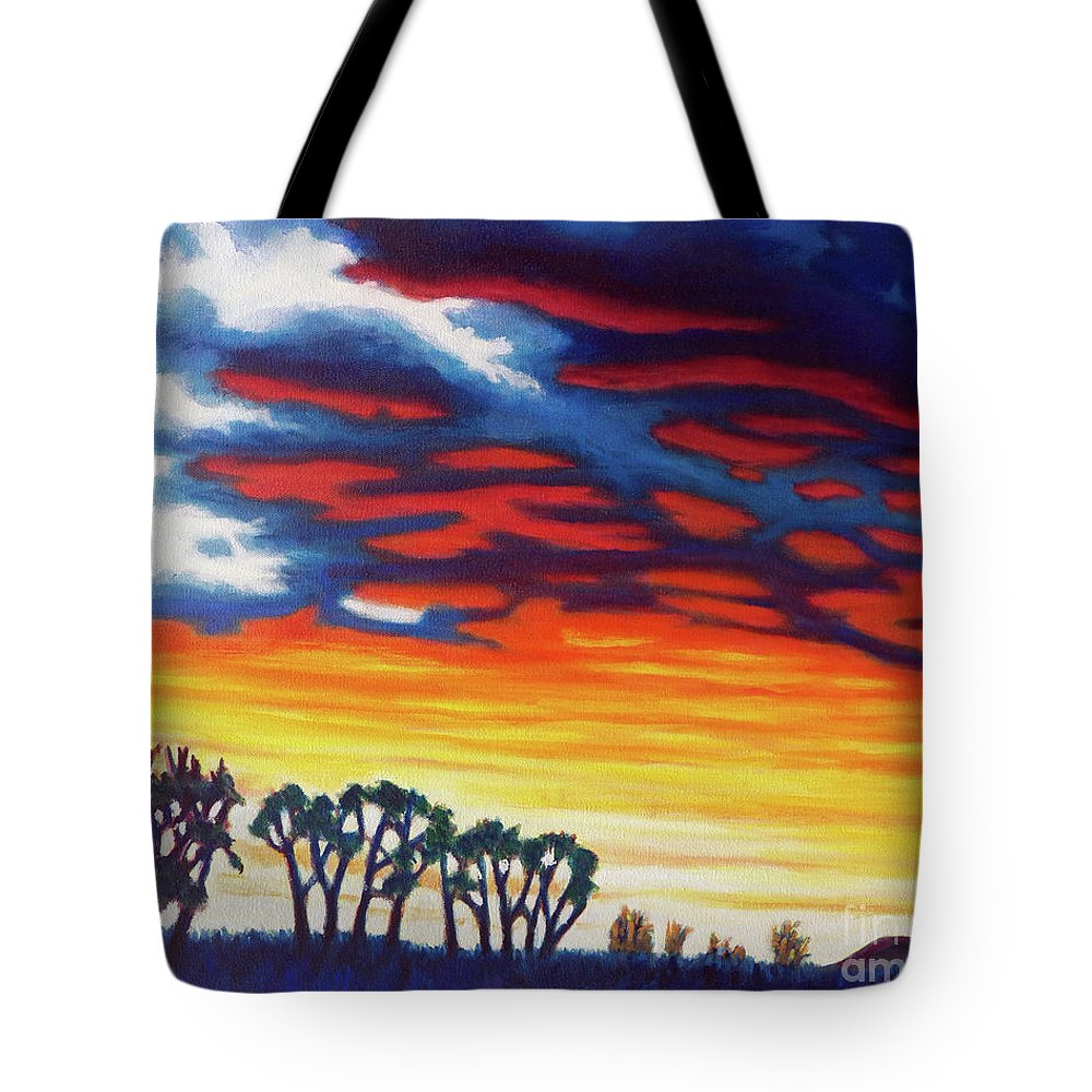 Landscape Tote Bag featuring the painting Beyond Tomorrow by Brian Commerford