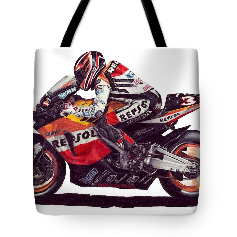Max Biaggi Tote Bag featuring the drawing Biaggi by Kristen Wesch