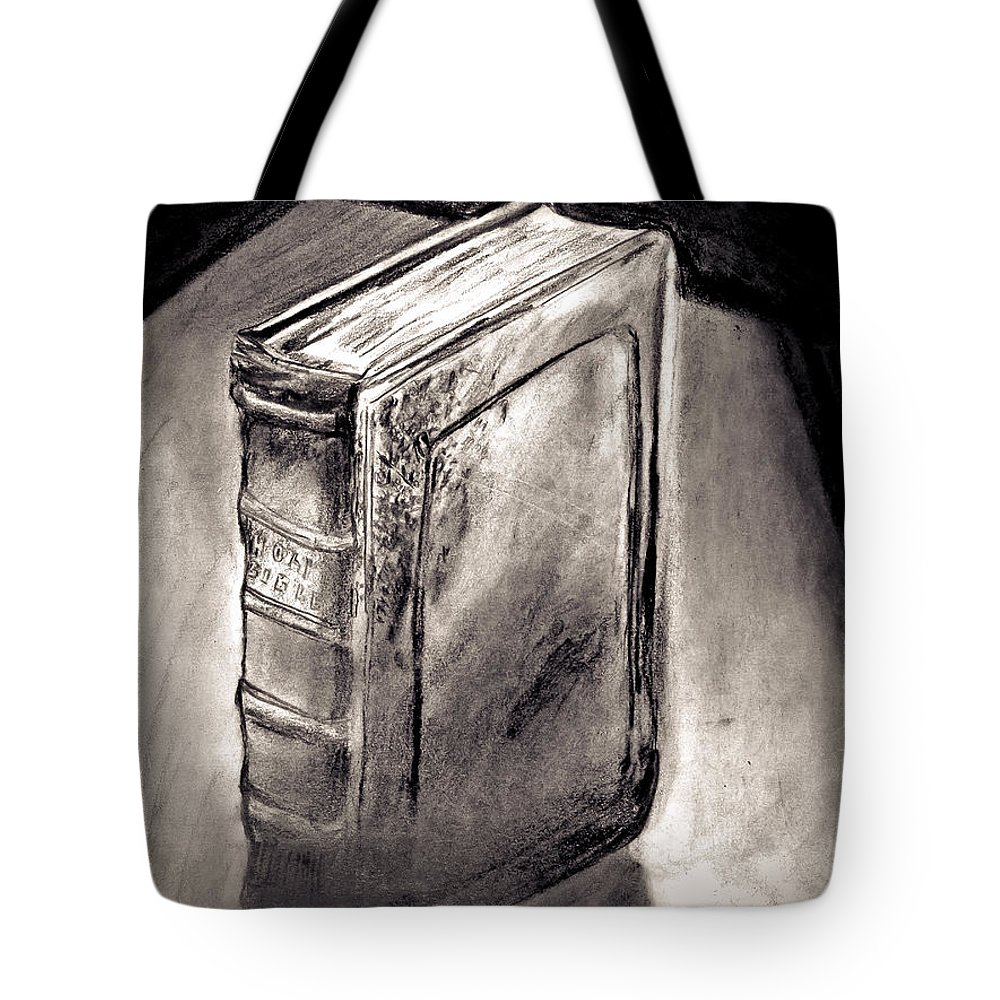 Bible Tote Bag featuring the painting Bible Drawing While In The Crisis Center by David Martin