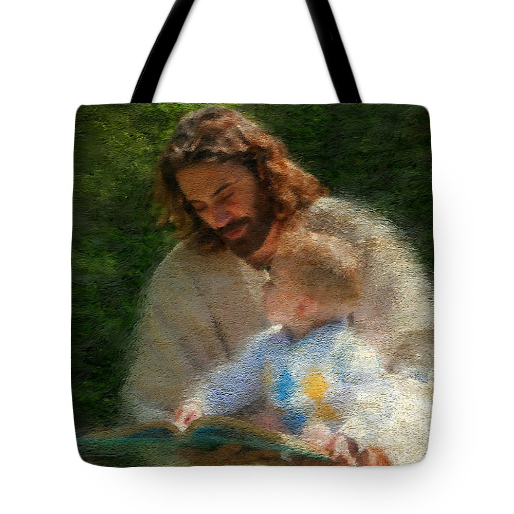 Jesus Tote Bag featuring the painting Bible Stories by Greg Olsen