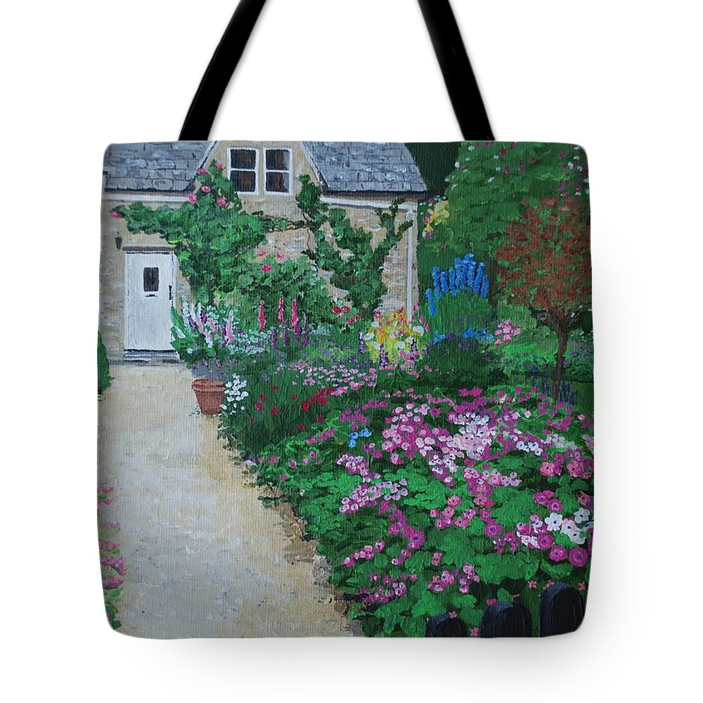 Gardens Tote Bag featuring the painting Bibury Garden Path by Keith Wilkie