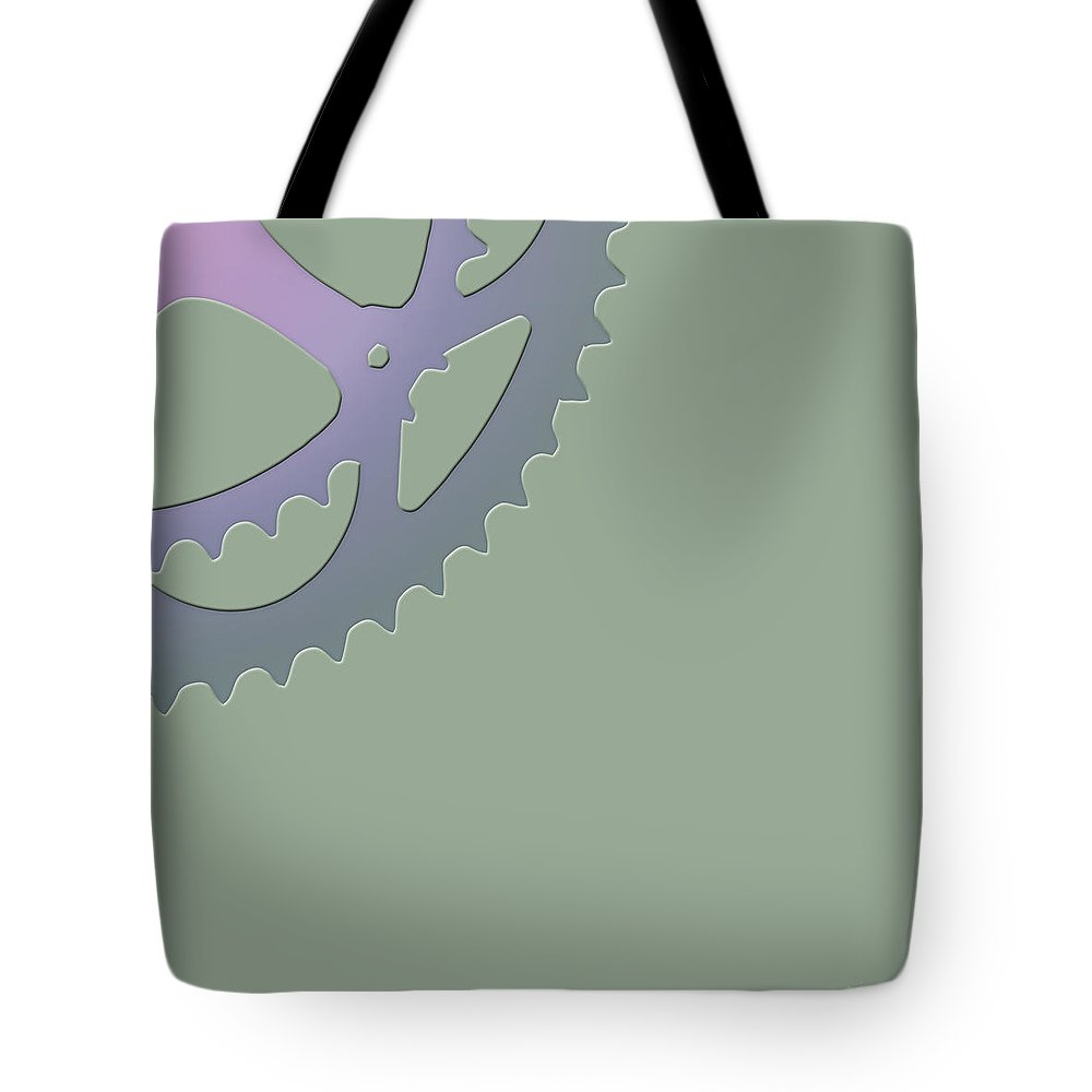 'two-wheel Drive' Collection By Serge Averbukh Tote Bag featuring the digital art Bicycle Chain Ring On Van Alen Green - 4 Of 4 by Serge Averbukh