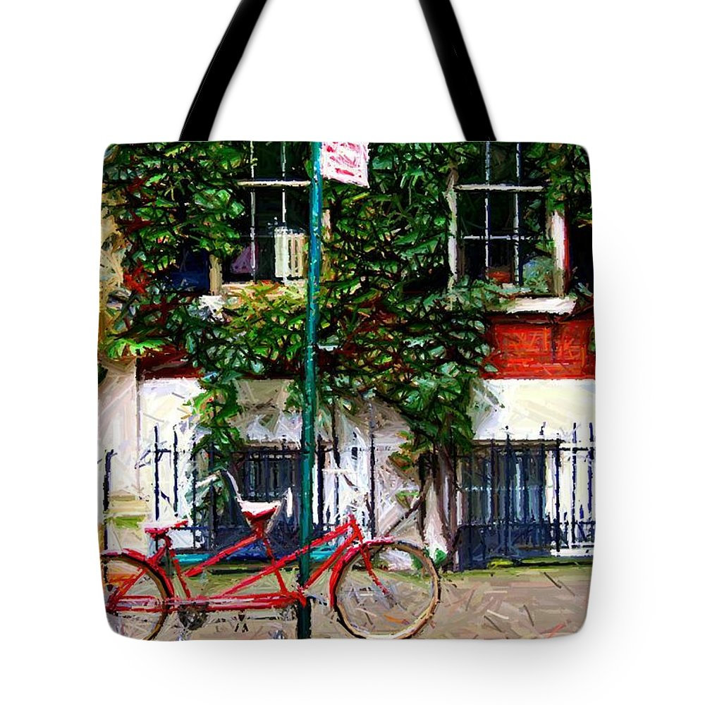 Greenwich Village Tote Bag featuring the digital art Bicycle Parking Sketch by Randy Aveille