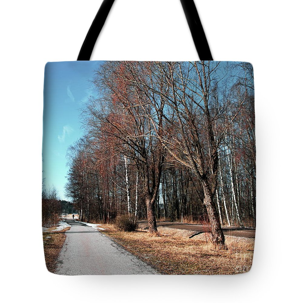 Narrow Tote Bag featuring the photograph Bicycle Path by Esko Lindell