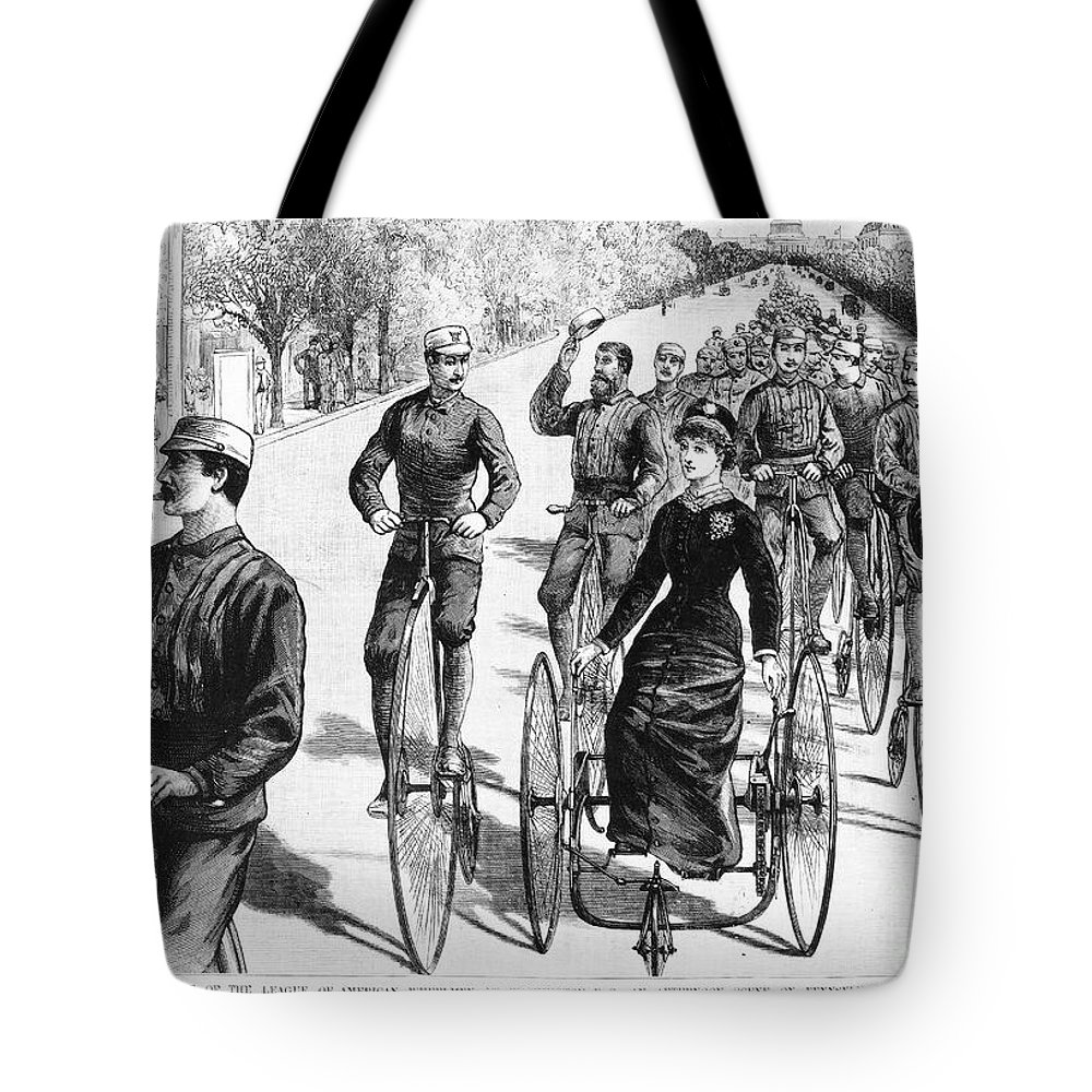 1884 Tote Bag featuring the photograph Bicyclist Meeting, 1884 by Granger