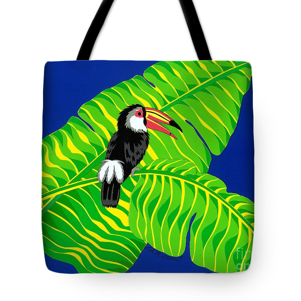 Nature Tote Bag featuring the drawing Big Billed Bird by Lucyna A M Green