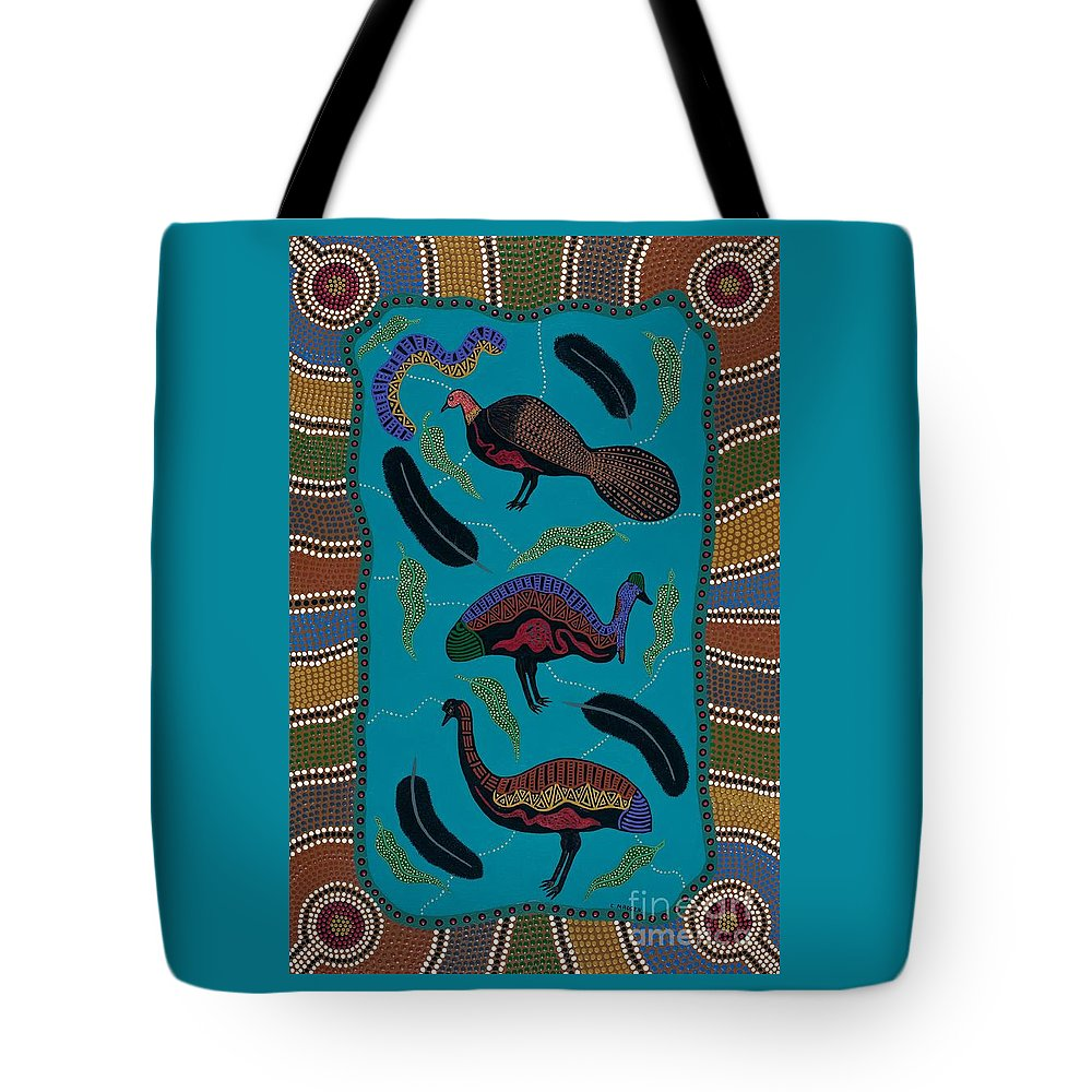 Acrylic Tote Bag featuring the painting Big Birds Of Australia by Clifford Madsen