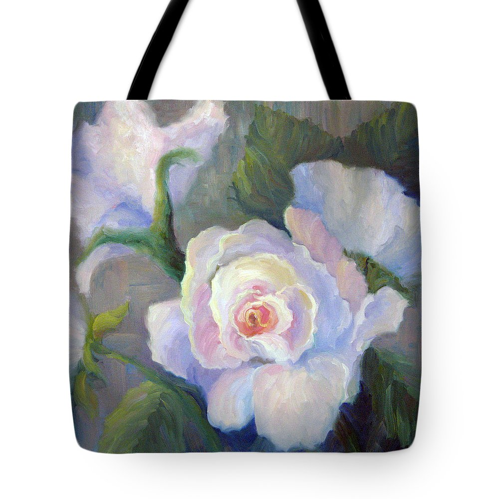 Flower Tote Bag featuring the painting Big Blushing Rose by Bunny Oliver