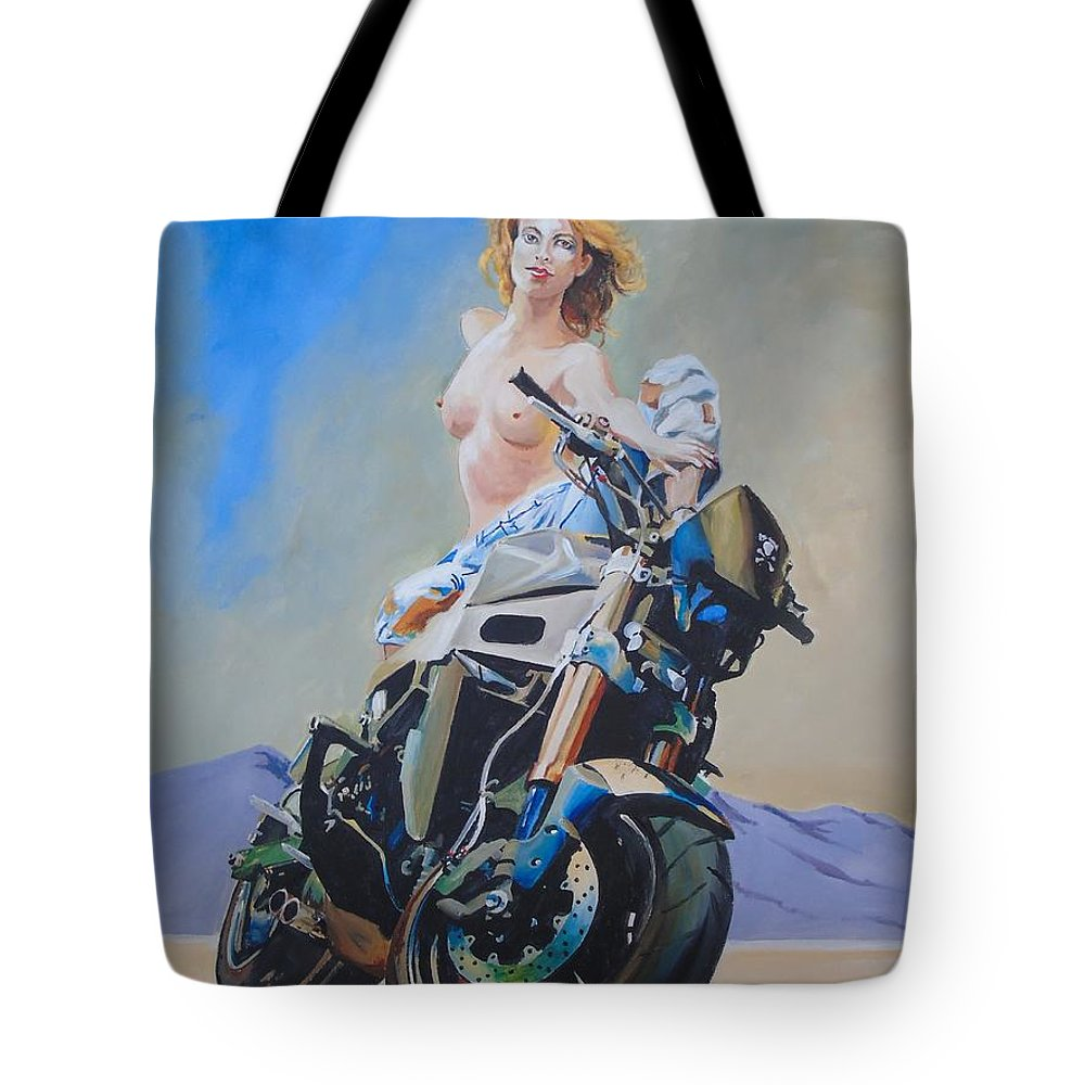 Semi Nude Tote Bag featuring the painting Big Boys Toys by Terence R Rogers