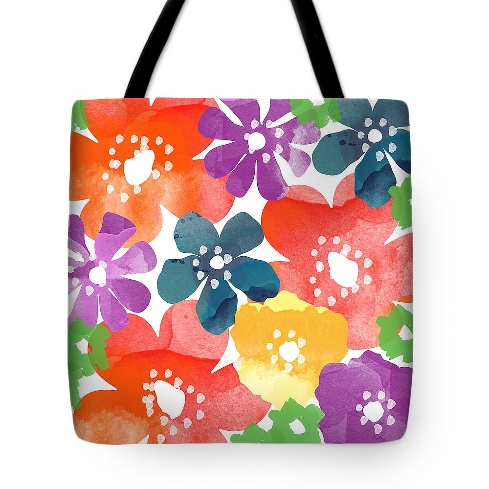 Flowers Tote Bag featuring the painting Big Bright Flowers by Linda Woods
