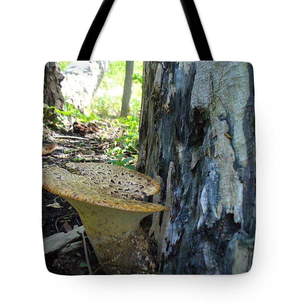 Toadstool Tote Bag featuring the photograph Big Brother Toadstool by Peggy King