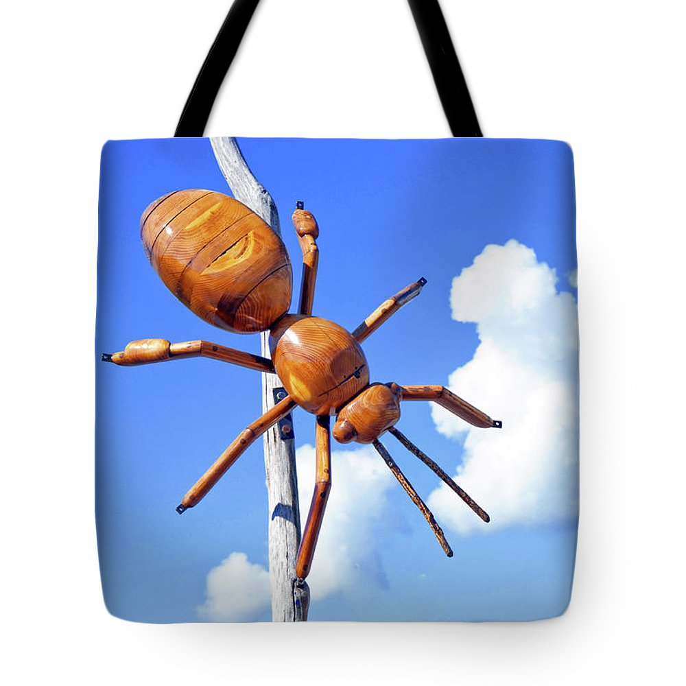 Big Bug Tote Bag featuring the photograph Big Bug Sculpture 1 by Andee Design