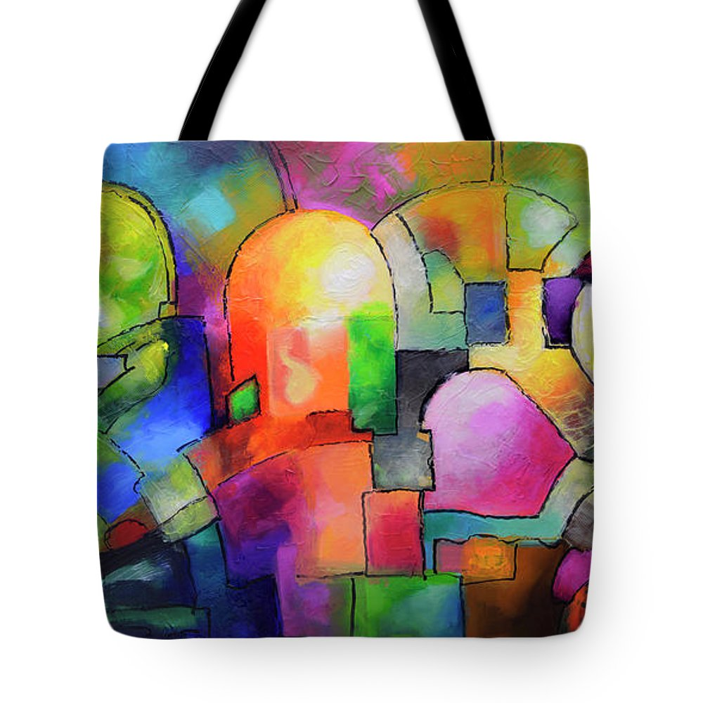 Geometric Tote Bag featuring the painting Big City by Sally Trace