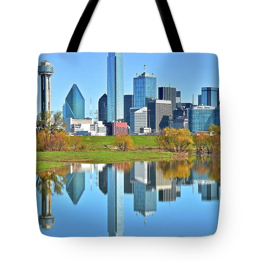 Dallas Tote Bag featuring the photograph Big D Reflection by Frozen in Time Fine Art Photography