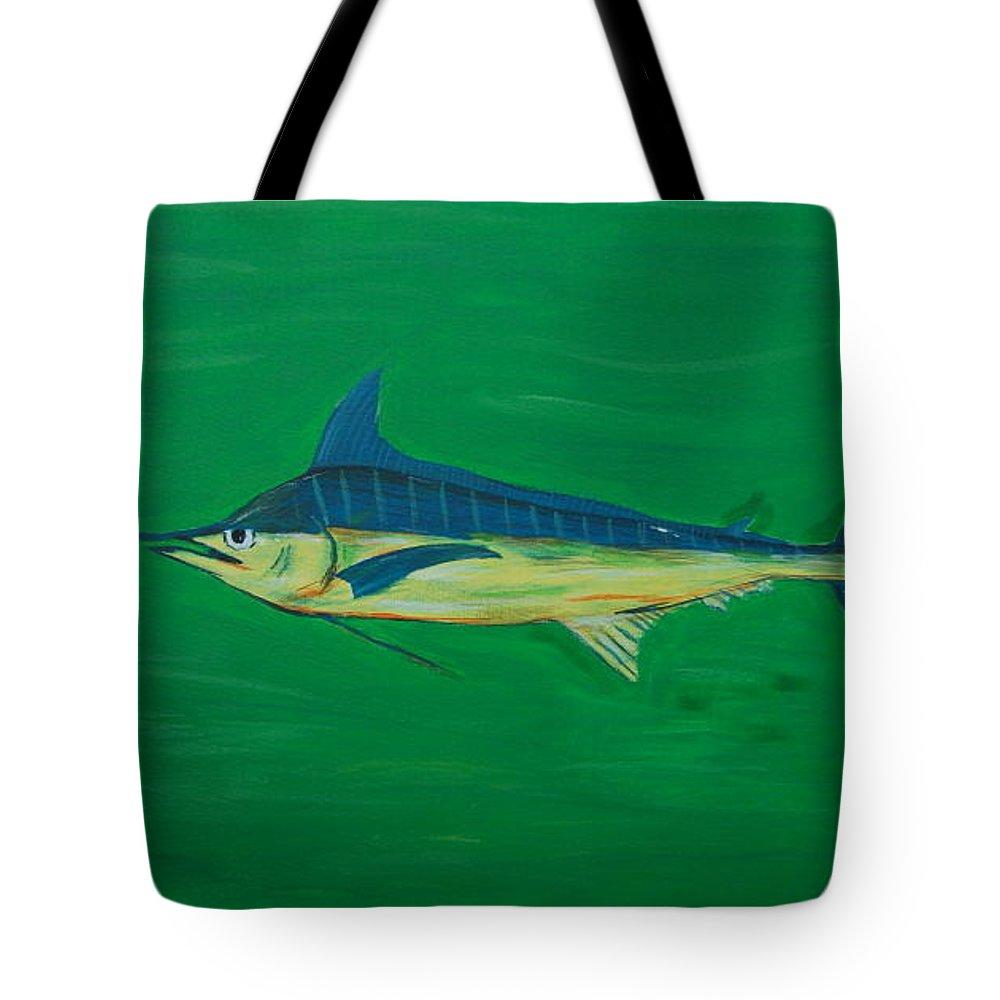Blue Marlin Tote Bag featuring the painting Big Fish by Angela Miles Varnado