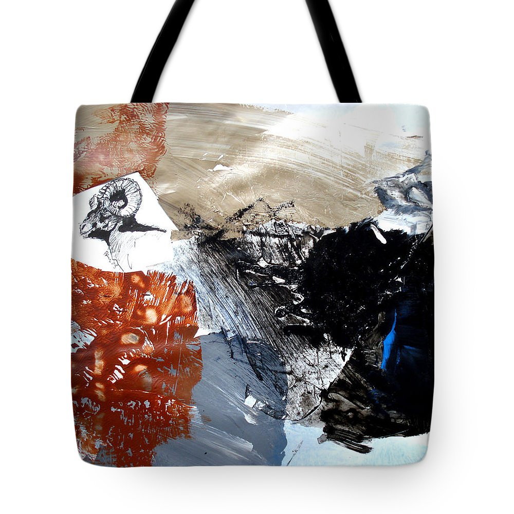 Wildlife Abstract Tote Bag featuring the painting Big Horn At Home by Paul Miller