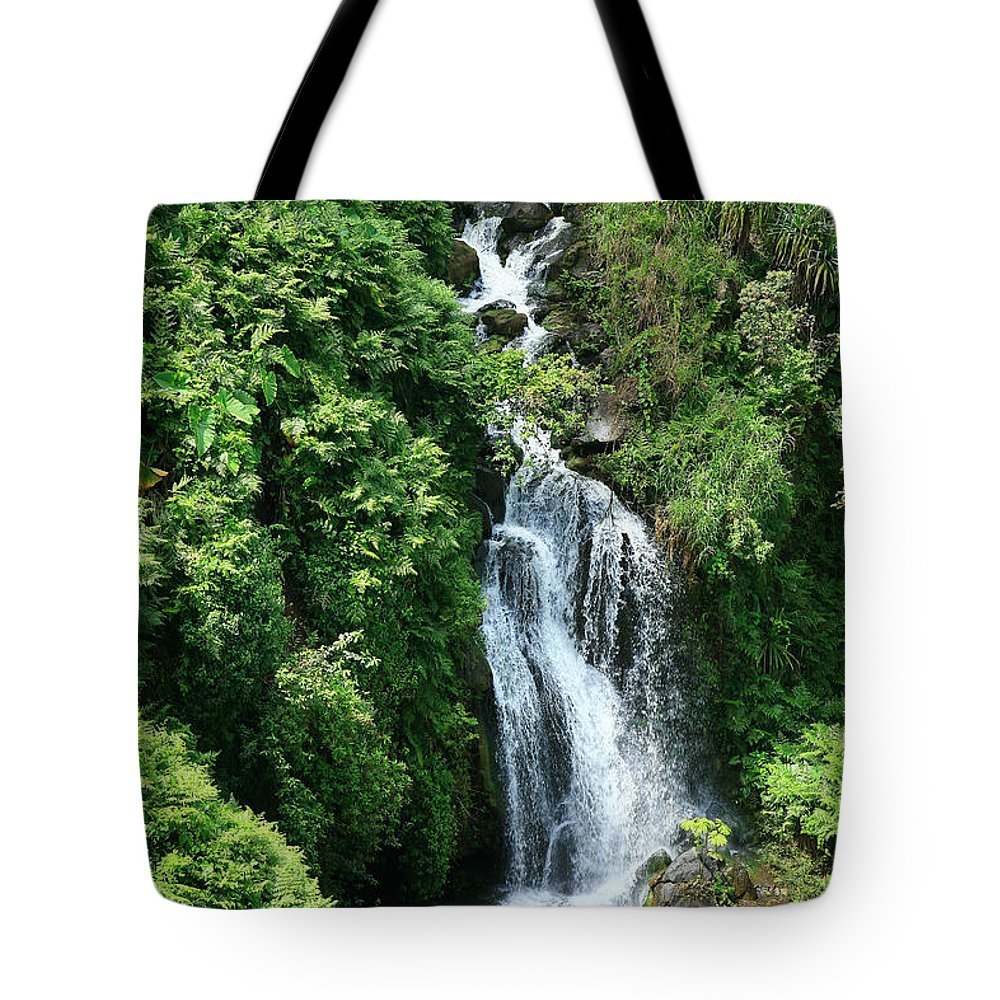 Active Tote Bag featuring the photograph Big Island Waterfall by Peter French - Printscapes