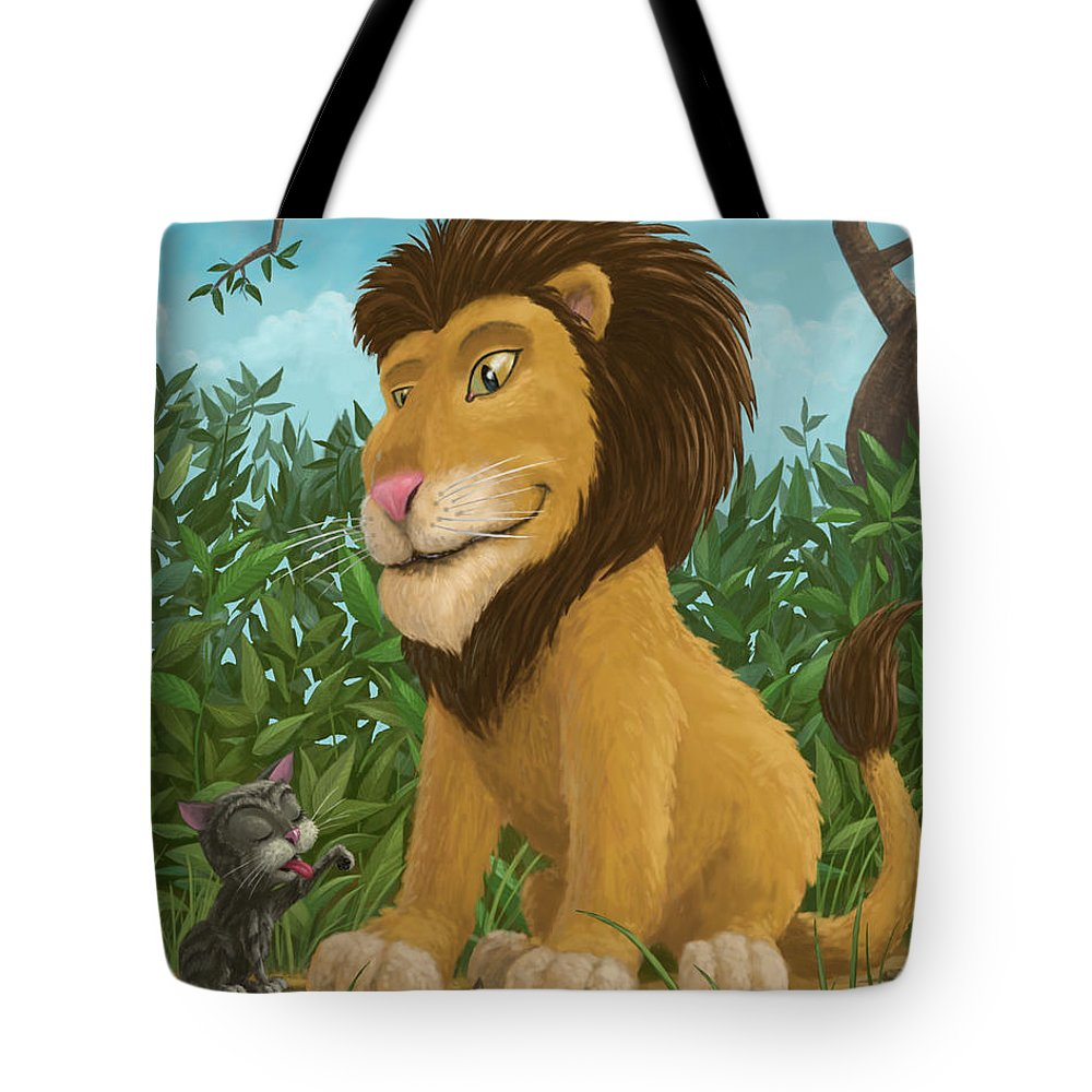 Lion Tote Bag featuring the painting Big Lion Small Cat by Martin Davey
