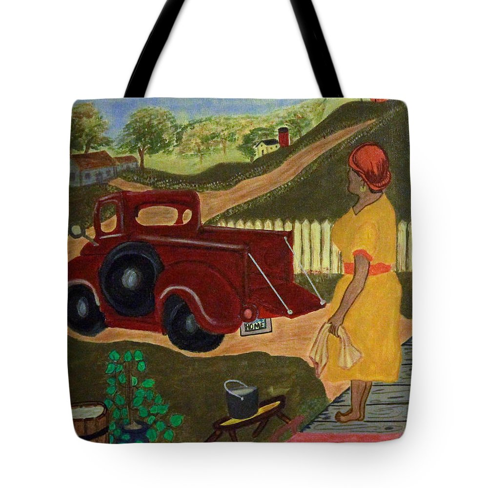 Red Truck Tote Bag featuring the painting Big Mama Red Truck by Suzon Lemar
