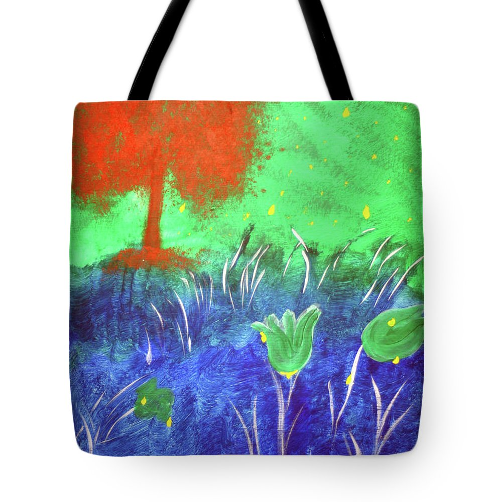 Trees Tree Color Colorful Playful Kid Art Orange Blue Green Bright Tote Bag featuring the painting Big Orange Tree by Lisa Stanley