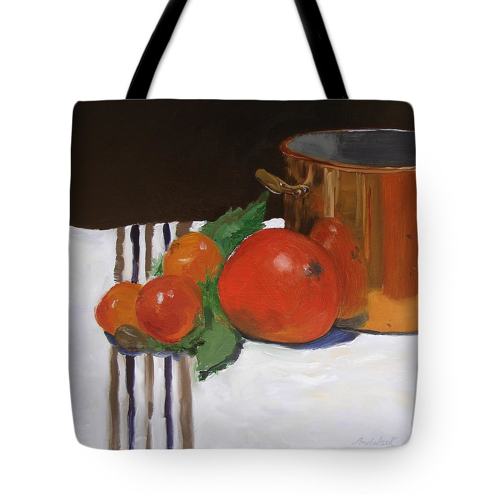 Still Life Tote Bag featuring the painting Big Red Tomato by Barbara Andolsek