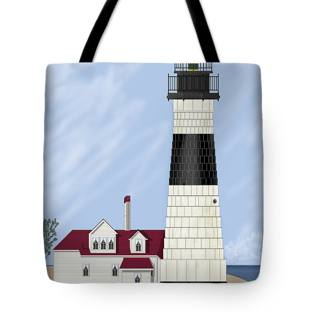 Big Sable Michigan Lighthouse Tote Bag featuring the painting Big Sable Michigan by Anne Norskog