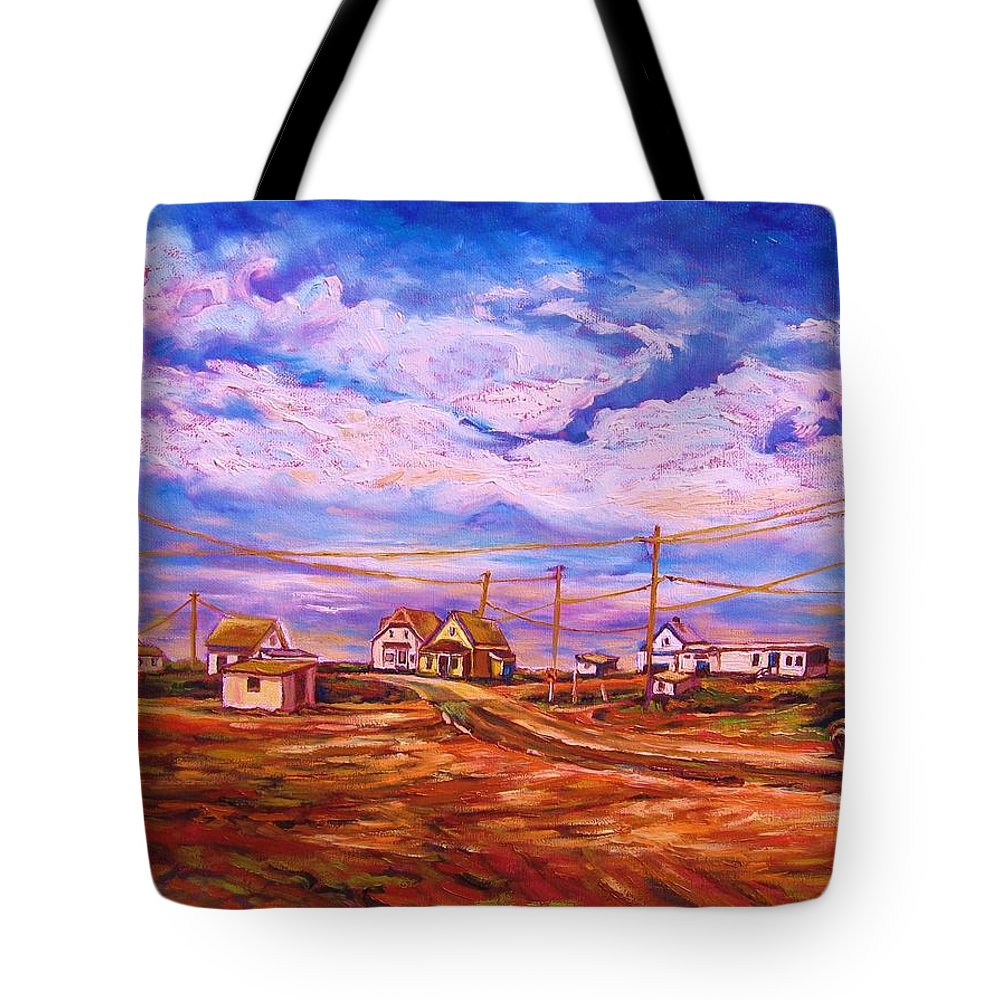 Cloudscapes Tote Bag featuring the painting Big Sky Red Earth by Carole Spandau