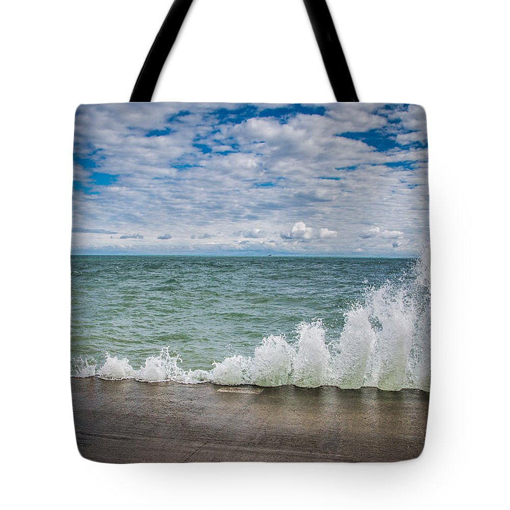 Lake Michigan Tote Bag featuring the photograph Big Splash by Rita Anthony