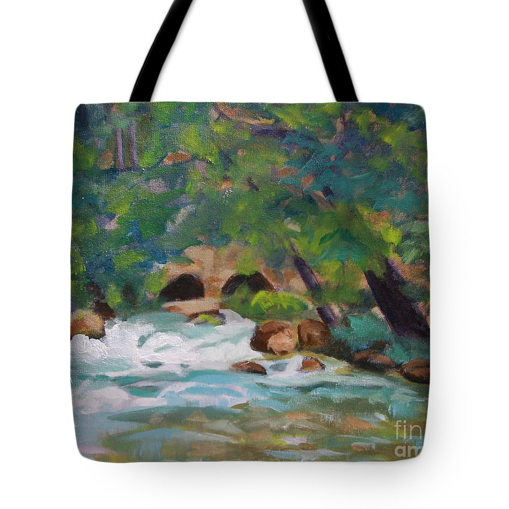 Impressionistic Tote Bag featuring the painting Big Spring On The Current River by Jan Bennicoff