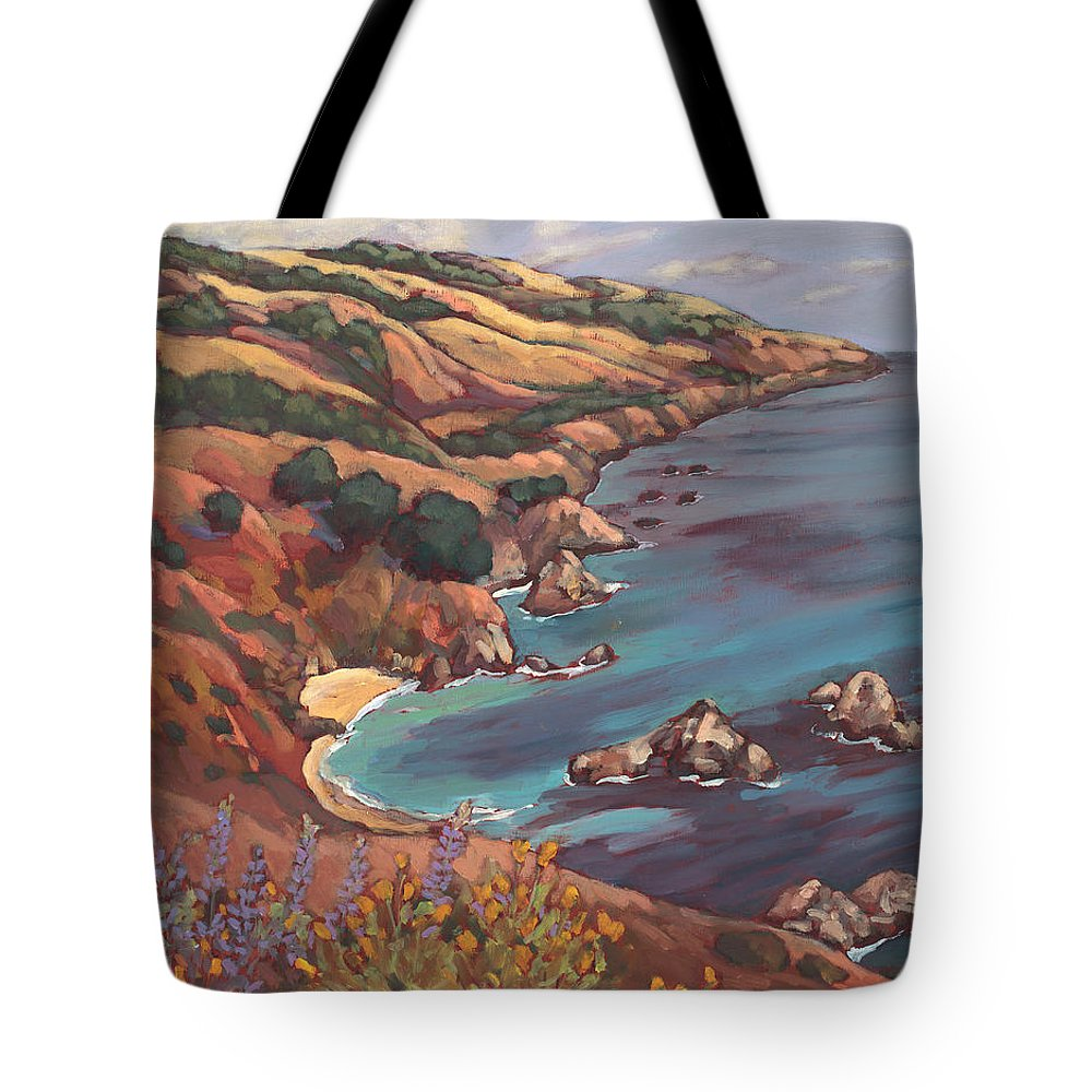 Ocean Tote Bag featuring the painting Big Sur Coast by Peggy Olsen