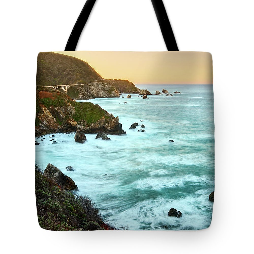 Big Sur Tote Bag featuring the photograph Big Sur Sunrise by Jamie Pham