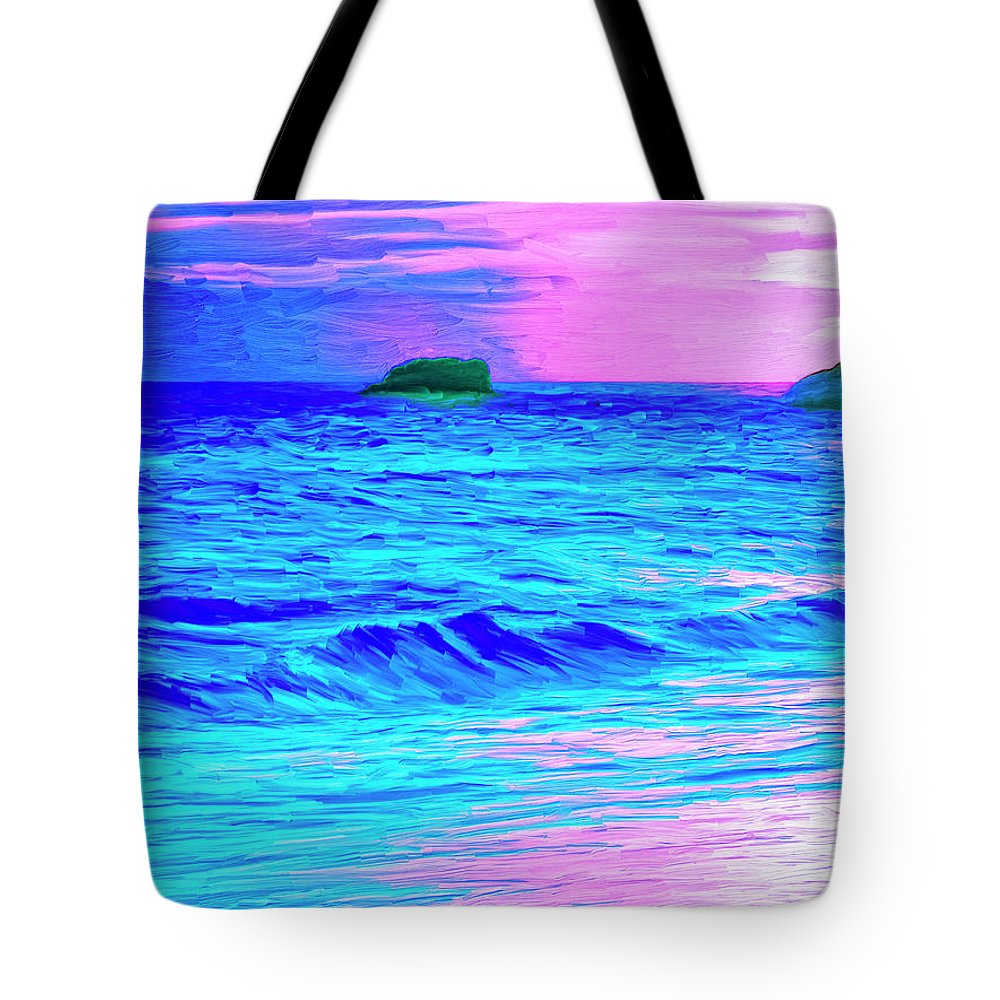 Sunset Tote Bag featuring the painting Big Sur Sunset by Dominic Piperata