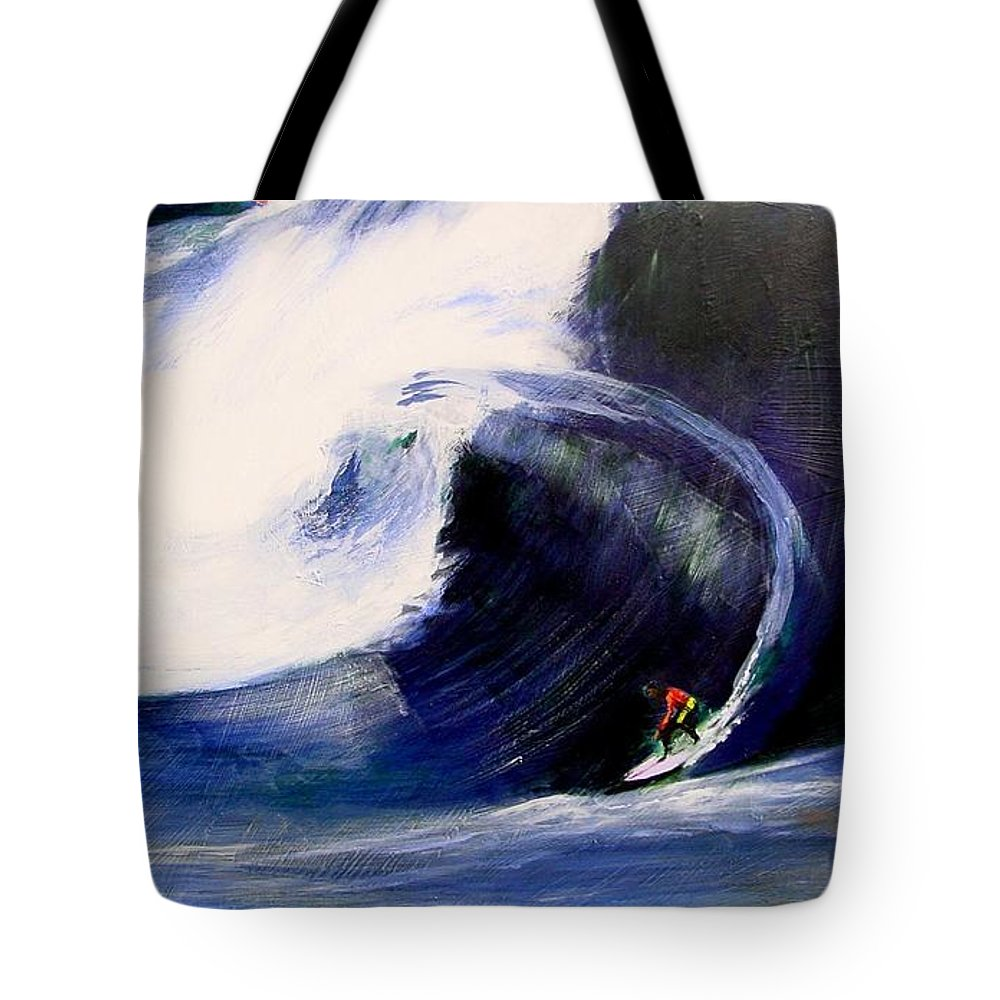 Surf Tote Bag featuring the painting Big Tunnel Dharma by Paul Miller