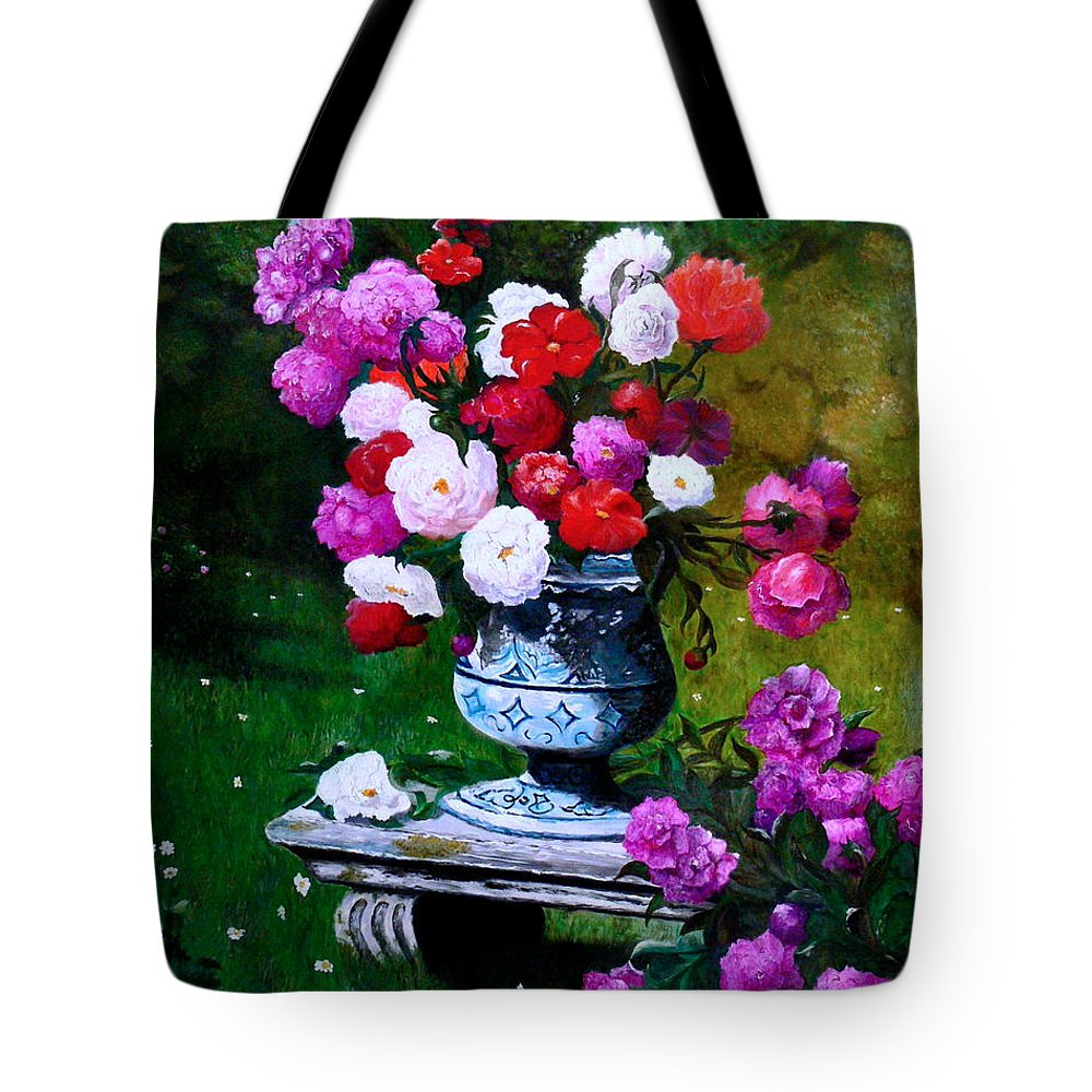 Stilllife Tote Bag featuring the painting Big Vase With Peonies by Helmut Rottler