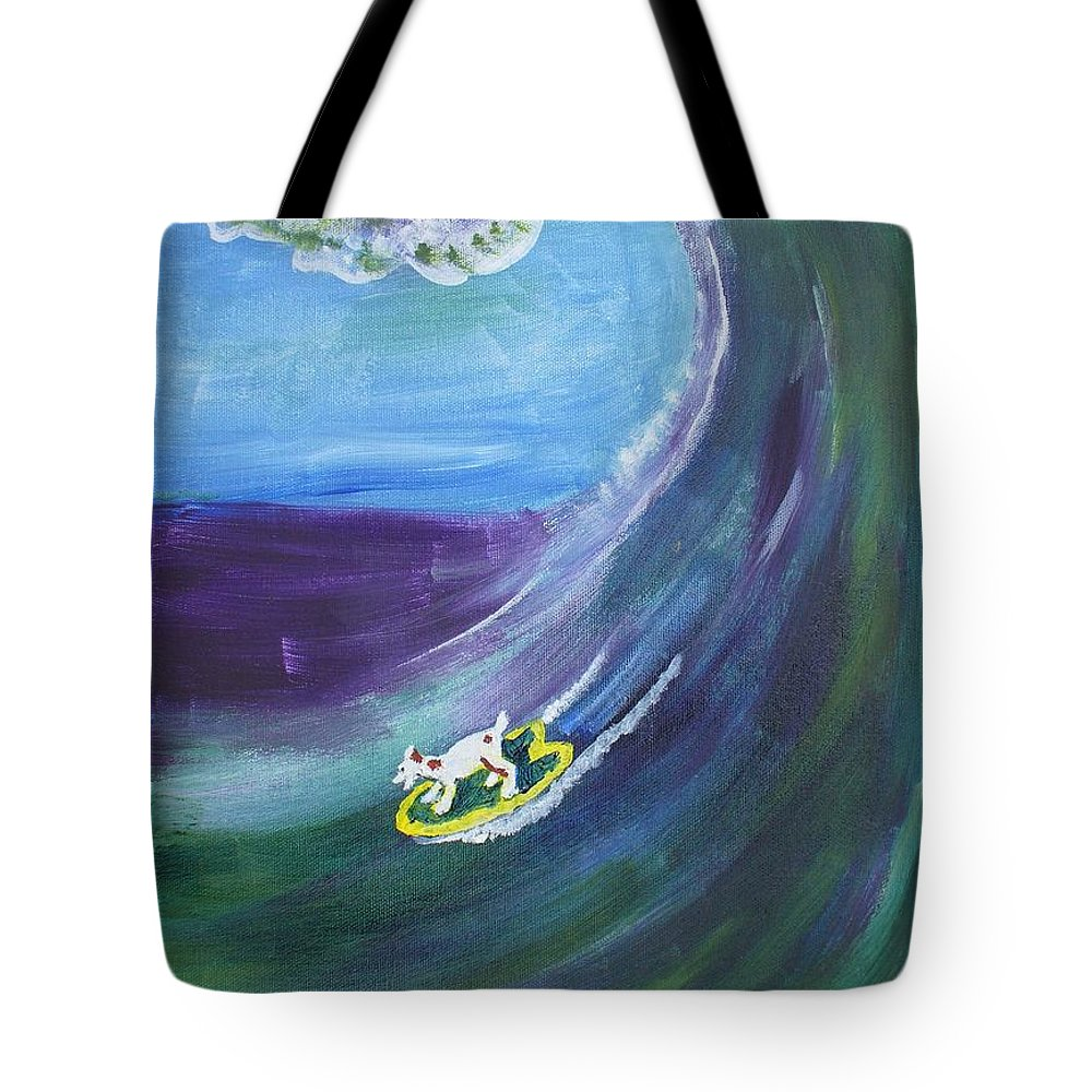Surf Tote Bag featuring the drawing Big Wave by Nancy Suiter