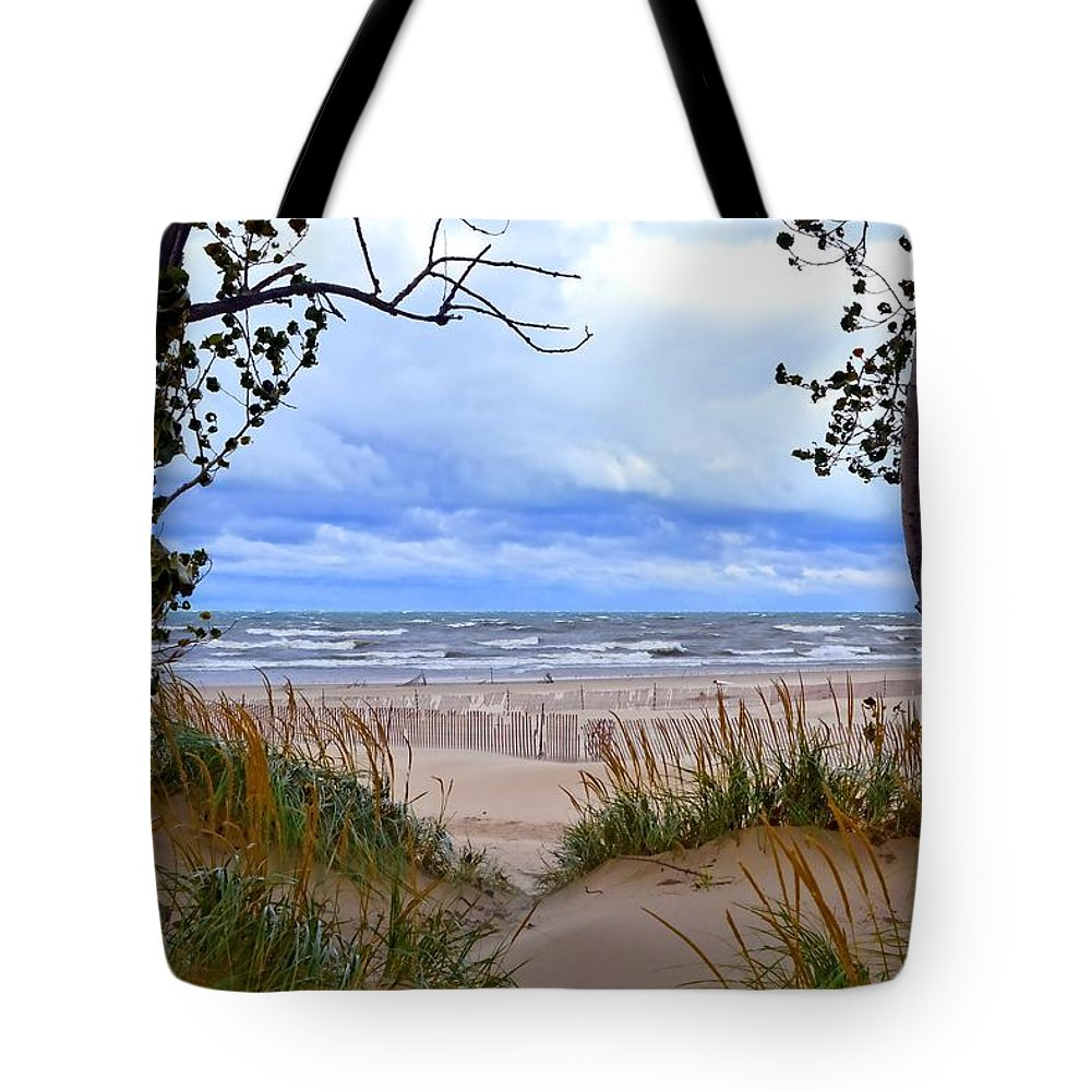 Trees Tote Bag featuring the photograph Big Waves On Lake Michigan 2.0 by Michelle Calkins