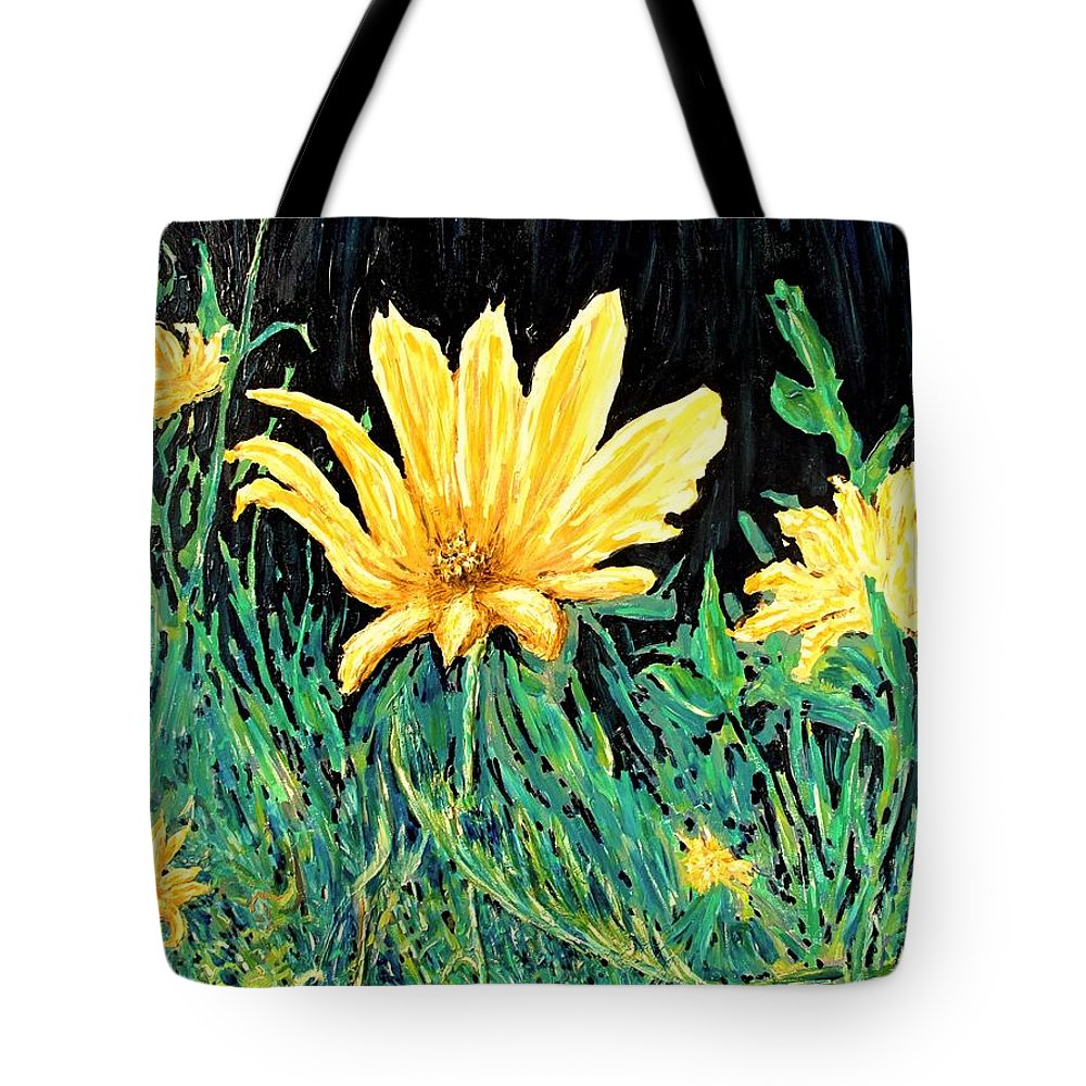 Flower Tote Bag featuring the painting Big Yellow by Ian MacDonald