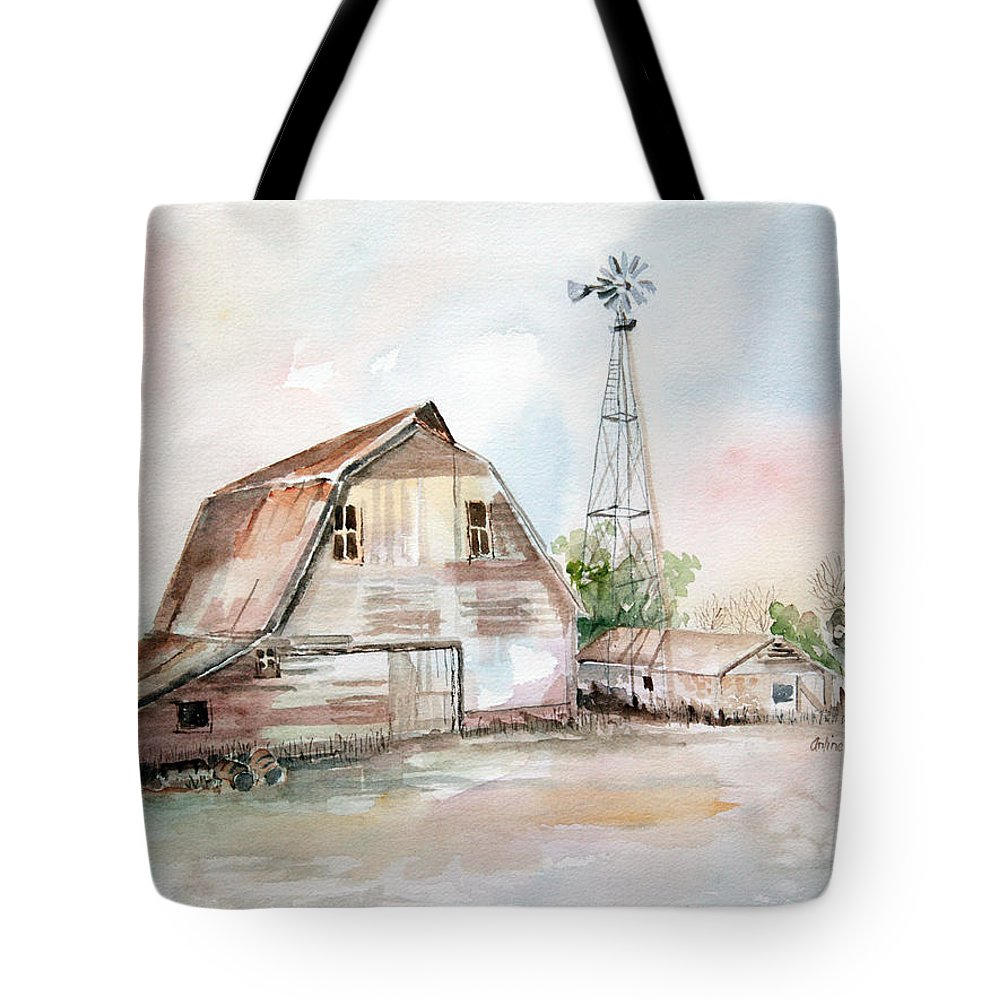 Barn Tote Bag featuring the painting Bigelow's Barn by Arline Wagner