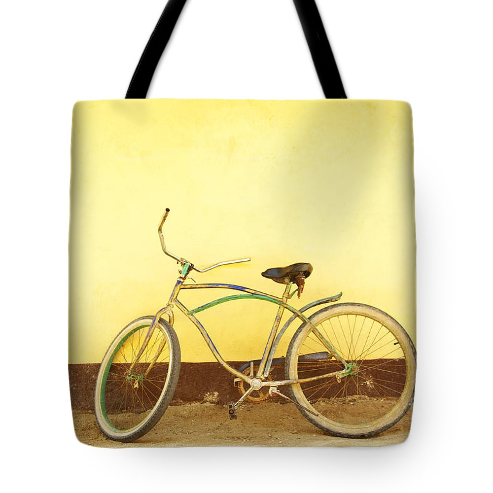 Bicycle Tote Bag featuring the photograph Bike And Yellow Wall by Kyle Rothenborg - Printscapes